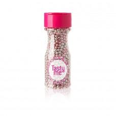 Parels metallic zilver-roze 4mm