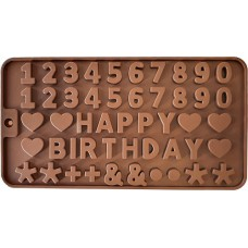 Siliconen Chocoladevorm Cijfers Happy Birthday - Fondant - Bonbonvorm - Rolfondant