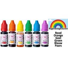 Set van 6 Regenboogkleuren Voedsel kleurstoffen Value 6 set food colors. Regenboog kleuren Kleurstoffen eetbaar.Voeding kleurstof voor taart. Kleurstof bakken .Taartingrediënten en bakspullen kopen.(Tasty Me)