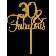 Cake topper 30 and fabulous goud