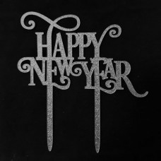 Cake topper happy new year zilver sparkle glitter