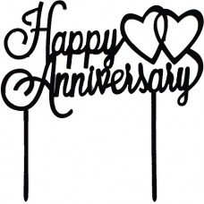 Cake topper Happy Anniversary zwart
