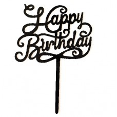 Cake topper happy birthday zwart