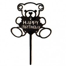 Cake topper happy birthday beer zwart