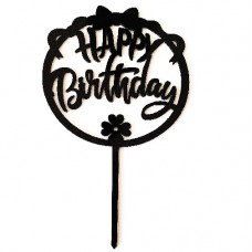 Cake topper happy birthday rond zwart
