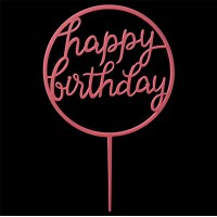Cake topper happy birthday fuchsia roze rond