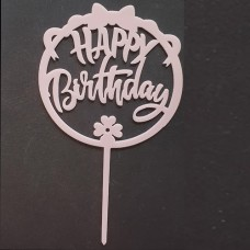 Cake topper happy birthday rond strik roze