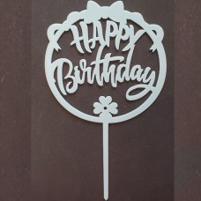 Cake topper happy birthday rond strik blauw