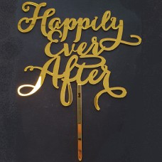 Cake topper Happily Ever After Goud