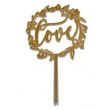 Cake topper Love goud rond