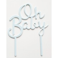 Cake topper Oh baby blauw