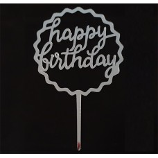 Cake topper happy birthday zilver kartel