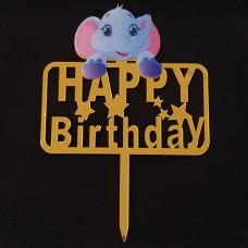 Cake topper Happy birthday olifant goud