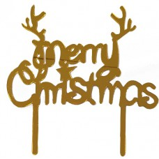 Cake topper merry christmas goud