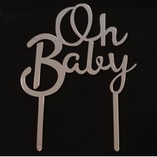 Cake topper Oh baby lila glans